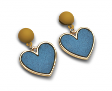 aretes corazon color azul